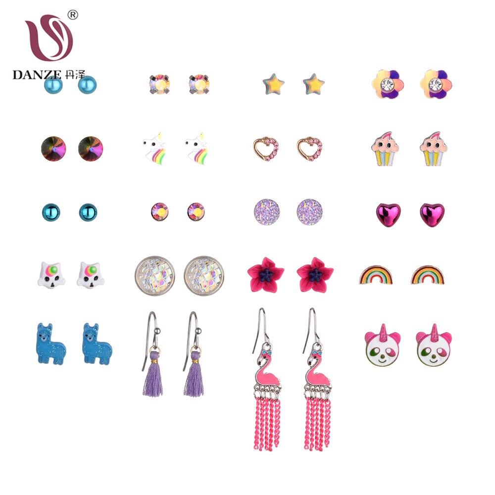 DANZE New Design 20/30 Par / Set Stud Örhängen Set För Kvinnor Flickor Pärlor Blommor Unicorn Kristaller Rainbow Heart Stud Örhängen
