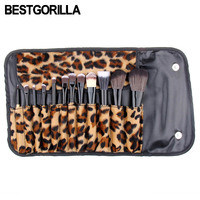 12 teil/satz Make-Up Pinsel Set mit flanell Leopard Tasche Kosmetische Foundation Eyshadow Rouge Pulver Blending Pinsel schönheit werkzeug kits