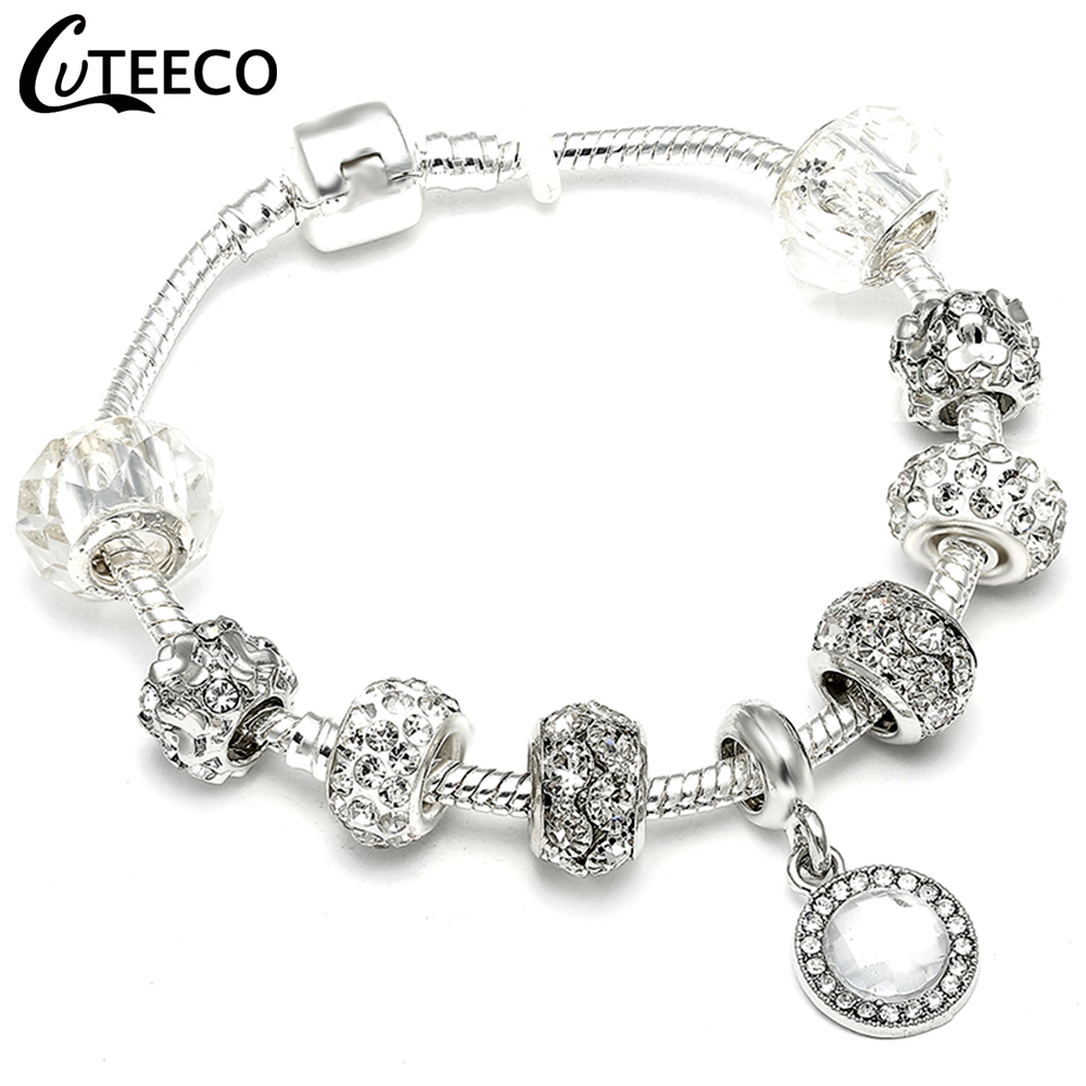 HTB1y0zBX2vsK1RjSspdq6AZepXak - CUTEECO Antique Silver Color Bracelets & Bangles For Women Crystal Flower Fairy Bead Charm Bracelet Jewellery Pulseras Mujer