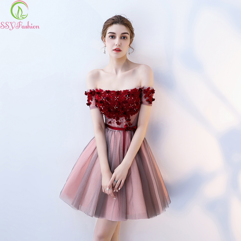 Robe De Soiree SSYFashion Lace Flower   Cocktail     Dress   The Rouge Red A-line short   Dress   Banquet Elegant Formal Party Gowns