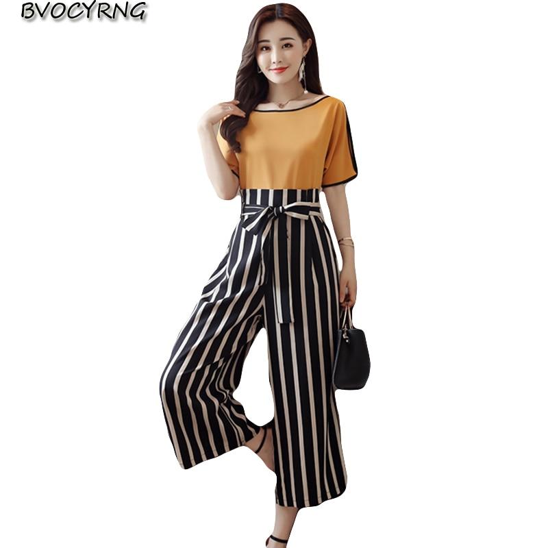 High Quality Women 2 Piece Striped Pant Set 2018 Summer Fashion Short Sleeve Blouse Tops / Ankle-Length Pants Suit Female K0240 1