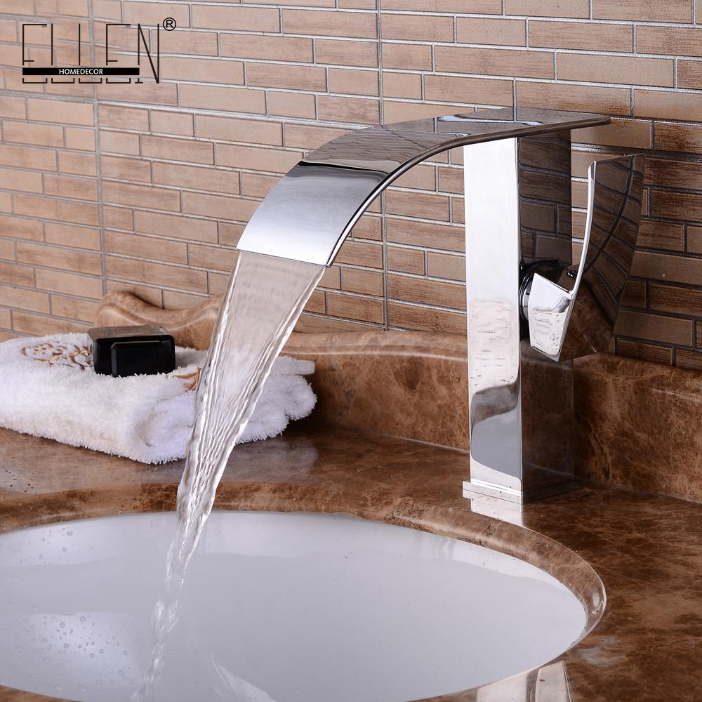Waterfall Bathroom Sink Faucet Water Tap Mixer Cold and Hot Single Handle Solid Copper Chrome Finished xoxo modern bathroom products chrome finished hot and cold water basin faucet mixer single handle water tap 83007