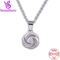SoonHave Charms Sterling Silver 925 Jewelry Fashion Cubic Zirconia Round Pendant Jewelry Trendy Style Women Lady