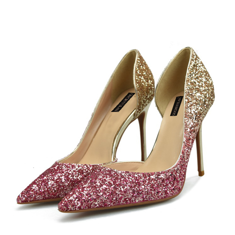 8cm/10cm Sexy Women Pumps Pointed Toe shoes Summer Thin High Heels Wedding Shoes Pumps Party Shoes Silver Rhinestone Sandals sexy glitter women shoes metal heel sequined shoes pumps 8cm or 10cm or 12cm high heels pointed toe wedding bridal shoes