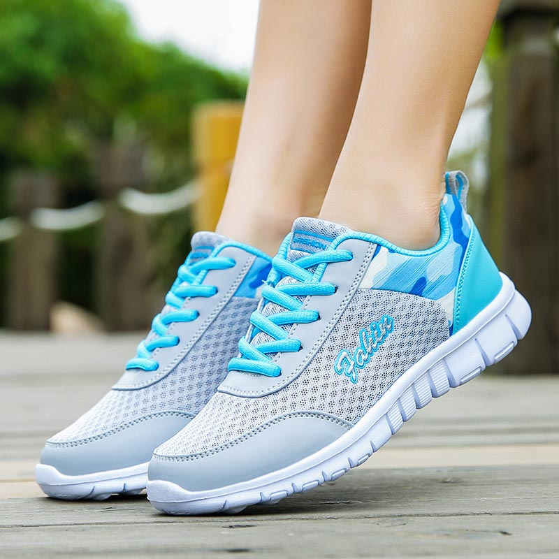Plus Size Breathable Sport Shoes Women Sneakers For Running Shoe Sports Gray Baskets Femme 2019 Footwear Athletic Krasovki B-253