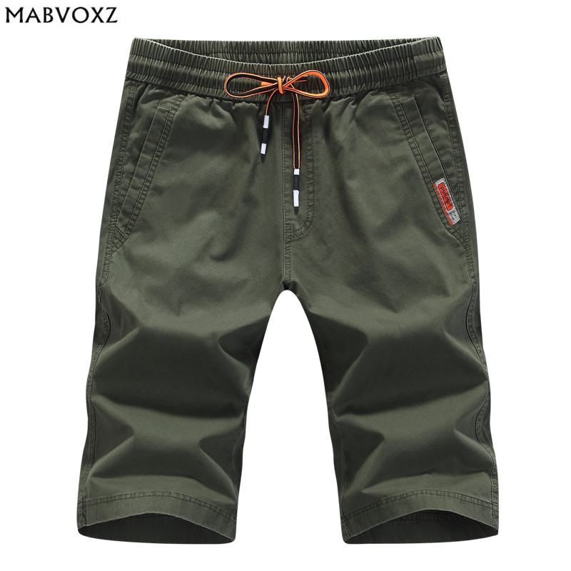 Elastic Waist and Drawstring Mens Cargo Shorts 2018 Summer Slim Fit 100% Cotton England Style short masculino sweatpants