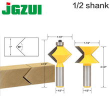 """2Pc 1/2"""" Shank 90 Degree Edge Banding Router Bit Set V Design Tongue & Groove plate splicing knife woodworking cutter"""