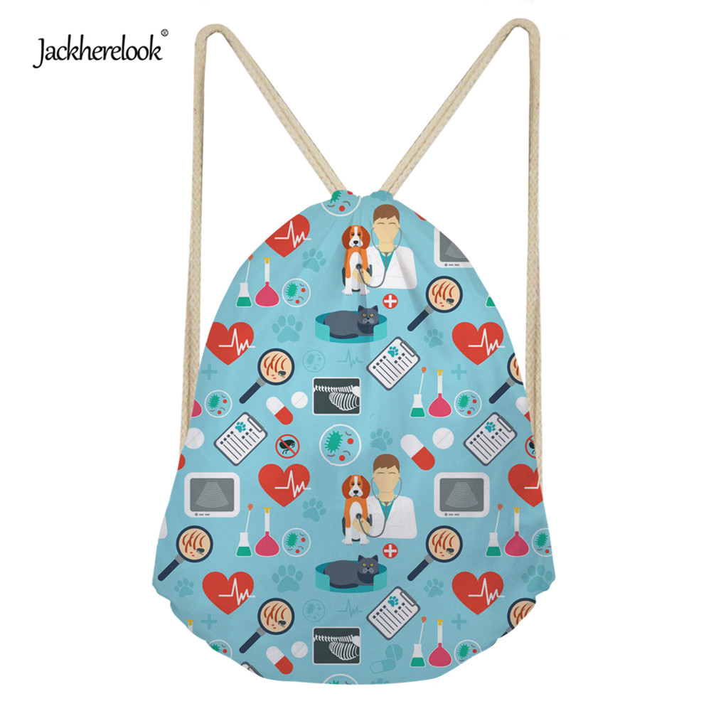 Jackherelook Women's Surgeon Nurse Drawstring Bags 3D Vet/Veterinary Small Girls Casual Yoga Beach Shoulder Bags Backpack Purse