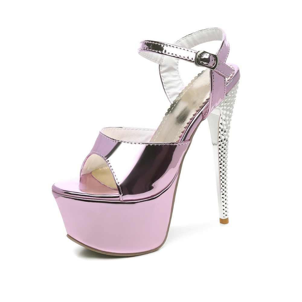 LANYUXUAN Yaz Sandalet Kadın Parti Seksi moda Büyük Boy 31-48 Bayan Ayakkabı Süper Yüksek Topuklu (16 CM) kadın Pompaları düğün ayakkabı 205