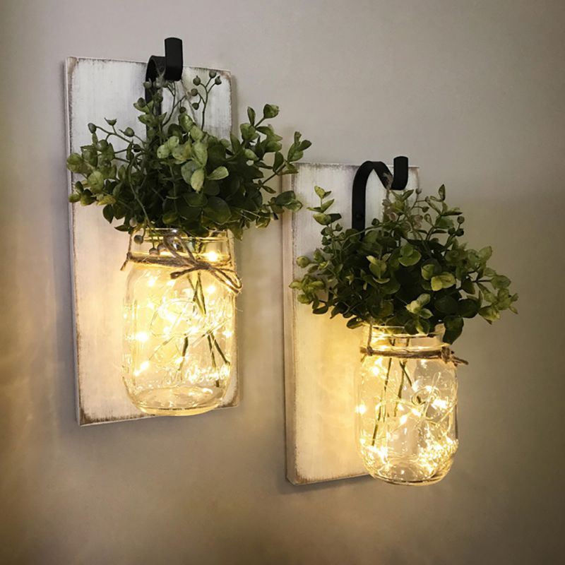 LED Fairy Light Solar Powered For Mason Jar Lid Insert jar Bottle Hanging Light Color Changing Garden Path Decor
