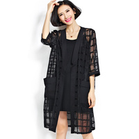 Women Trench Coat Black Color Half Sleeve Women Summer Trench Coat Casual Loose Plaid Open Stitch
