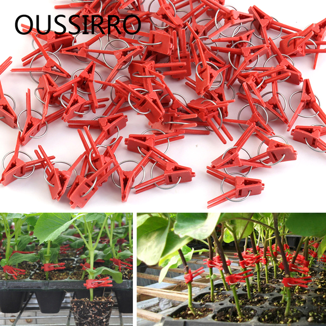 Red Plastic Grafting Clips Plant Support Clips Vine Garden Vegetables Plants Hanging Plastic Vegetables Garden Ornaments