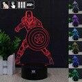 Capitão América em 3D Humor Lâmpada Night Light RGB Mutável LEVOU DC Luz 5 v usb candeeiro de mesa decorativo obter um free controle remoto h y