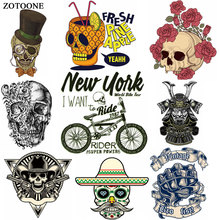 ZOTOONE Iron on Transfer Bike Patches Motorcycle Rose Skull Punk for Clothing T Shirt Beaded Applique Clothes DIY E