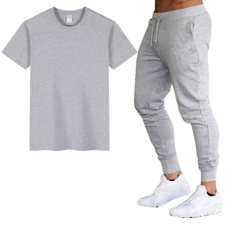 Ultimate Fighting Men's T-shirt + Trousers Two-piece Casual Sports Suit Men's 2019 Casual T-shirt Two-piece Men