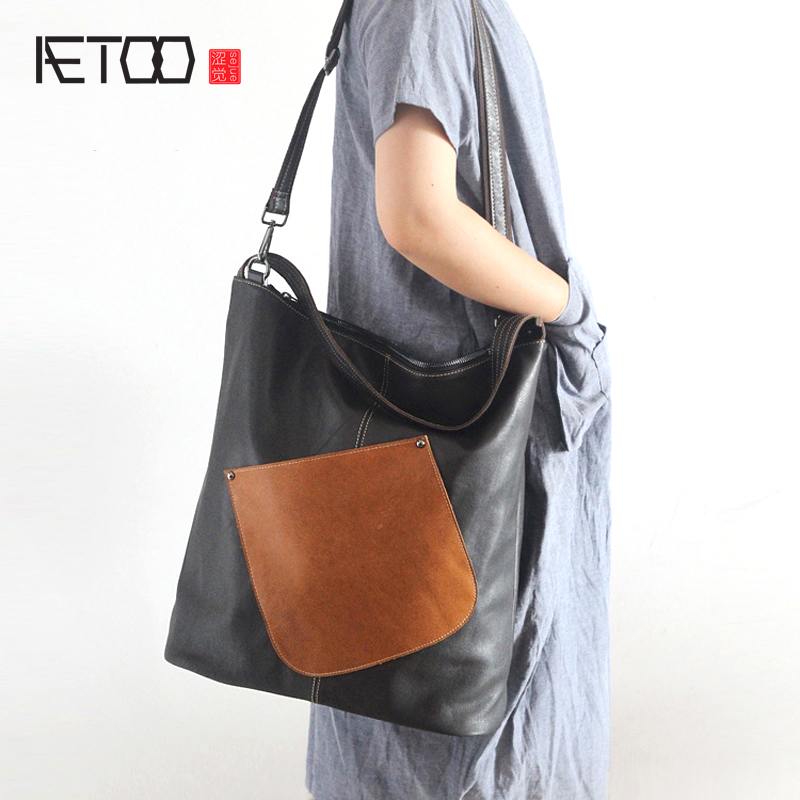 AETOO New original leather handbags fresh and fresh first layer of leather large capacity portable shoulder Messenger bag female aetoo the new first layer of leather handbags leather lingge shoulder bag retro cowardly messenger bag female small square bag