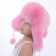 Nueva Rusia sombrero de piel invierno Niño niña Real de piel de zorro  sombrero padre-hijo los niños de los niños orejeras de pie. 496d3ac7517