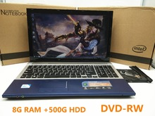 15 inch Gaming Laptop Notebook Computer Wtih DVD 8GB DDR3 Ram 500GB HDD in-tel celeron J1900 Quad Core 2.0Ghz WIFI webcam HDMI(China (Mainland))