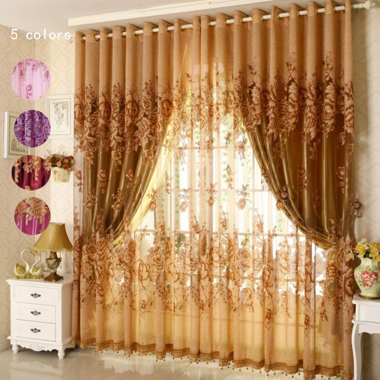 ready floral curtains blackout curtain for living room bedroom jacquard window curtains