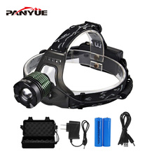 PANYUE Wholesale XM-L T6 LED Headlight Hunting Camping Rechargeable Mining Zoomable Flashlight Headlamp