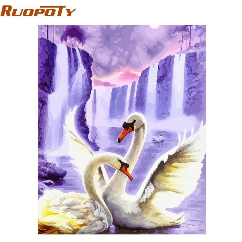 RUOPOTY Frame Swan Animals DIY Painting By Numbers Wall Art Picture acrílico lienzo pintura para decoración de boda Drop Shipping