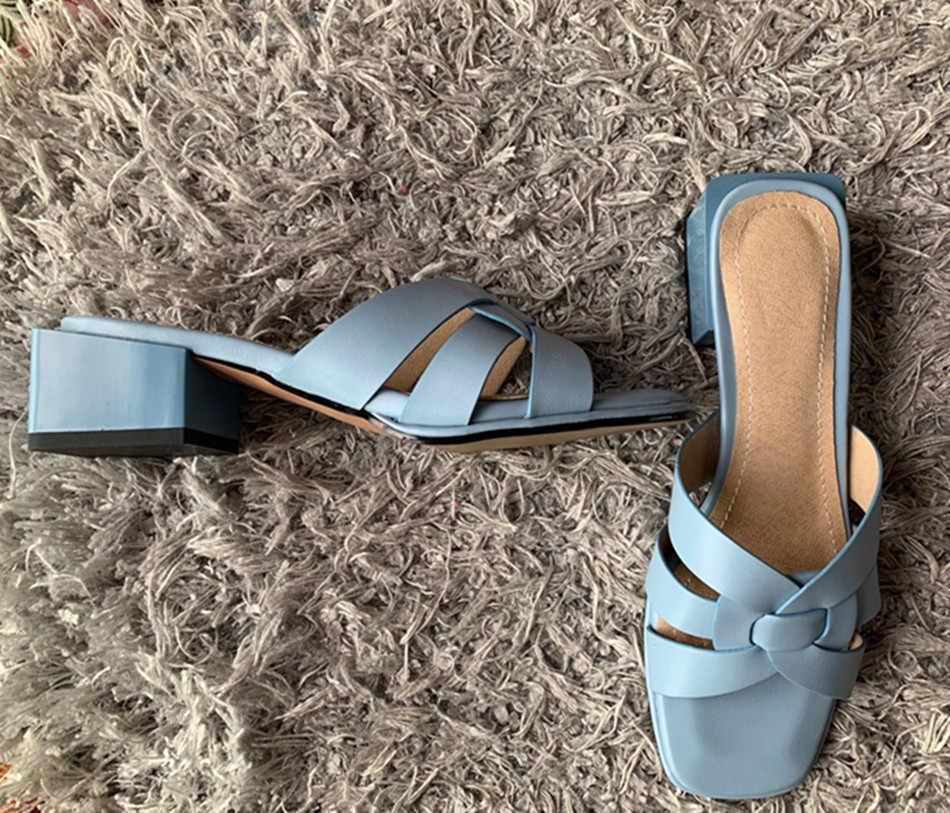 2019 yeni kadın terlik pu deri 4.2cm kare topuklu terlik burnu açık kadın sandalet pembe mavi sarı bayanlar rahat ayakkabılar kadın