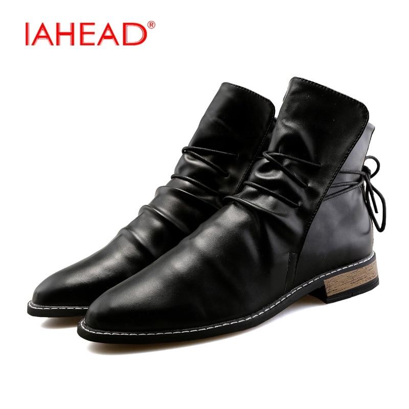 IAHEAD Men Shoes Chelsea Boots Men Winter Shoes Men Leisure Boots Work Boots Mens Shoes High Heels Shoes EU 39-44 MU532