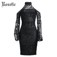 Rosetic Gothic New Black Sexy Party Dress Women Hollow Backless See Through Lace Dress Flare Sleeve