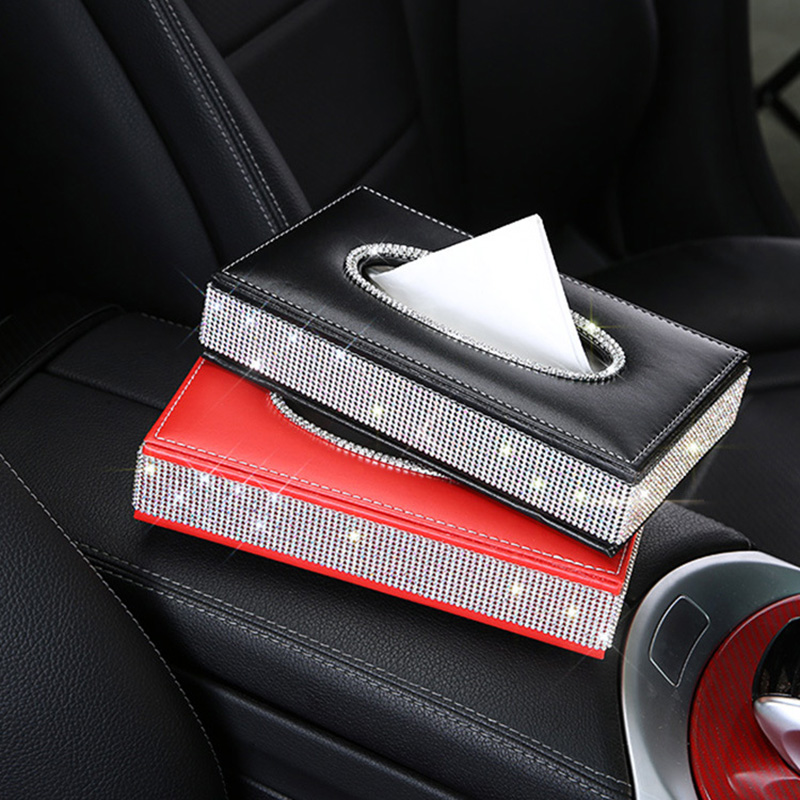 PU Leather Tissue Box Holder Bling Bling Crystal Rectangular Napkin Pumping Paper Case Dispenser For Home Office Car Auto Decor
