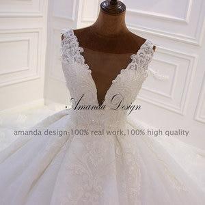 Image 3 - Amanda Design Hohe ende Angepasst Low Cut Tiefen V Sexy Luxus Backless Hochzeit Kleid