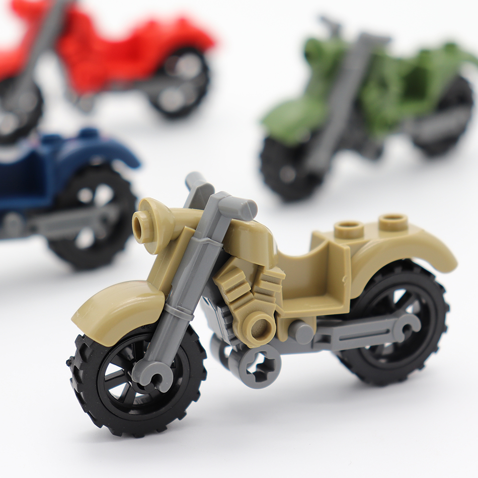 4 Color Racing Motorcycle Model Military Vehicles Parts Compatible Legoed City SWAT Police Figures DIY Building Blocks Kids Toys