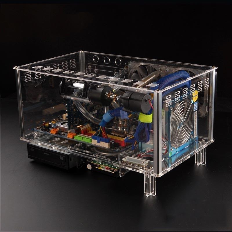 QDIY ПК-D779X красочные горизонтального формата ATX акриловая прозрачная настольный ПК водяного охлаждения компьютера Чехол