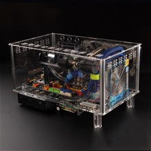 QDIY PC-D779X  Colorful Horizontal ATX Acrylic Transparent Desktop PC Water Cooling Computer Case