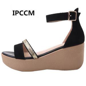 6bdb6761bae1 IPCCM 2018 Summer Black Sandals Female Shoes for Women