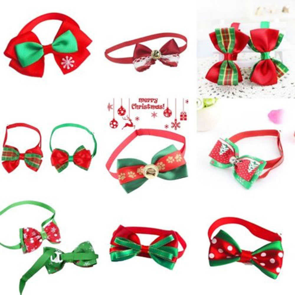 Pet Collar Adjustable Cloth Christmas Puppy Necklace Prop Lovely Safety Bow Knot Decor Tie Personilzed Novelty Multi-Pattern