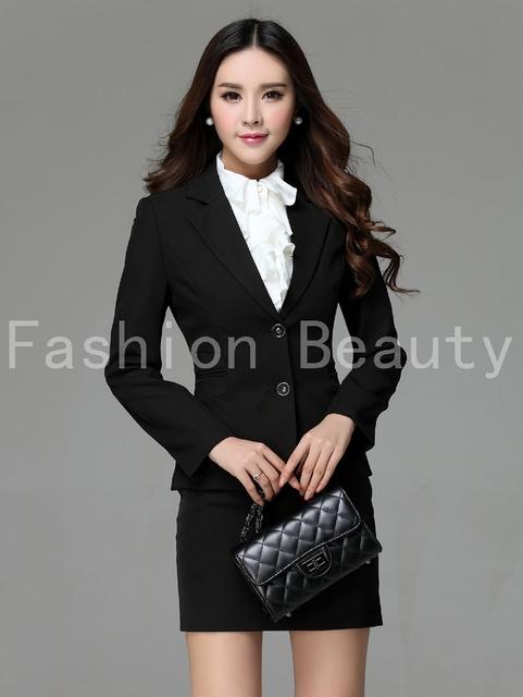 Novo tamanho 3XL além de uniforme estilo de alta qualidade de negócios trabalho usam ternos Blazer e saia para senhoras escritório esteticista queda Set