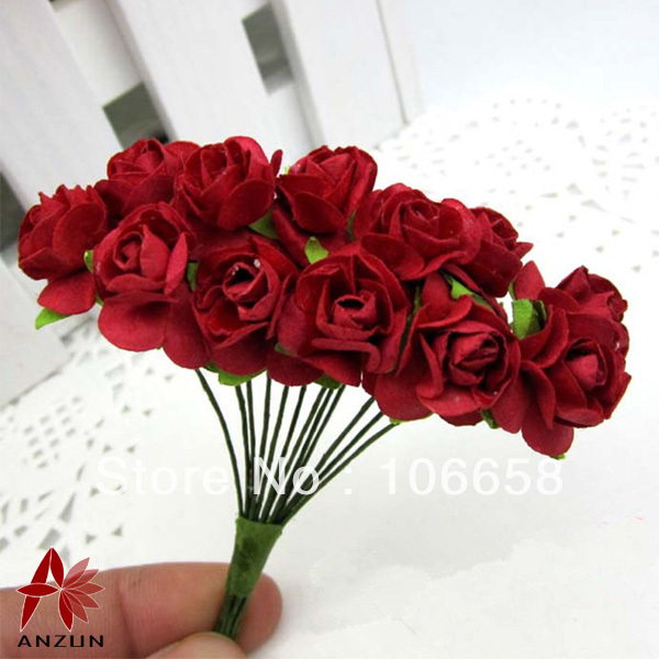 144pcs 1.5cm Artificial Paper Flower DIY Card and Gift Box Rose ...