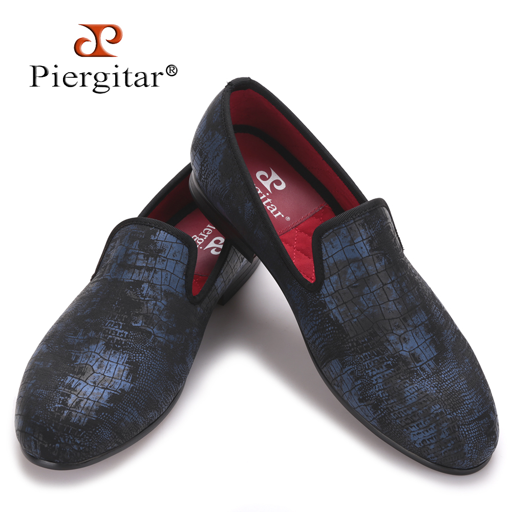 Piergitar Special Crocodile Print Suede Leather Plus Size Men Handmade shoes Smoking Slippers men loafers Men Flats Size US 4-17 2016 new fashion men leopard cotton fabric shoes british mens flats smoking slippers men loafers casual shoes plus size 4 17