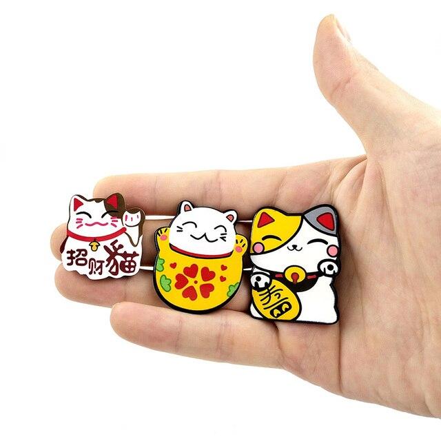 6pcs Japan Lucky Cats fridge magnets Cartoon Kitten animals whiteboard sticker Refrigerator Kid Message post Home Decoration 4