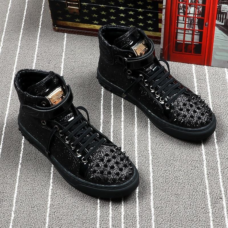 Zapatos Punk Chaussures Hop Rivets Top Conseil Britannique rouge High Mode Hombre Automne Noir Hip Casual Style Hommes Cuddlyiipanda C7w0Oqx6W