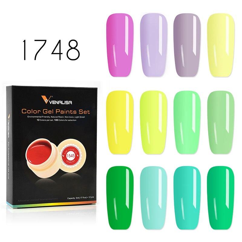 Canni gel pintura 5 ml/pc lâmpada led 2017 hot sale gel nail polish Projeto da arte 141 Cores de Unhas de Gel Sólido Puro Tinta Verniz Gel UV