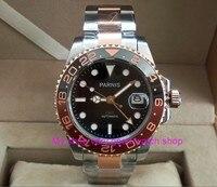 40mm Cristal de Safira GMT PARNIS movimento máquinas Automáticas relógios dos homens luminosos Rotate moldura pa37-p8