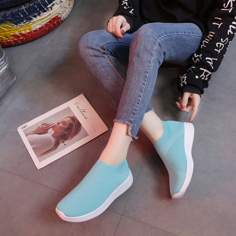 Cremulen 2019 New Fashion Summer Women Shoes Sneakers Flyknit  Stretch Fabric Casual