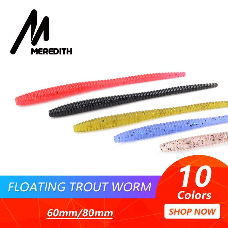 MEREDITH Slow SinkingTrout мягкие приманки в виде червей 60 мм 80 мм искусственные рыболовные приманки для морского червя земляной червь рыболовные мягкие приманки-Воблеры