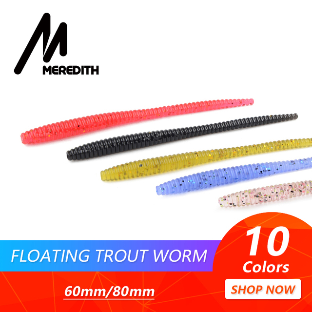 MEREDITH Slow SinkingTrout Worm Soft Baits 60mm 80mm Artificial Fishing Lures Sea Worms Earthworm Fishing Soft Lures Wobblers