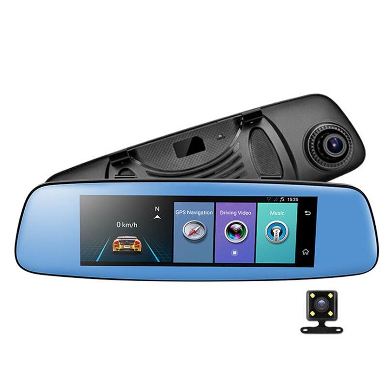 """imágenes para E06 4G Coche DVR 7.84 """"ADAS táctil Remoto Monitor de visión Trasera espejo con DVR y cámara Android de Doble lente 1080 P WIFI dashcam"""