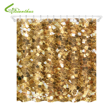 ФОТО waterproof shower curtain with 12 hooks gold geometric printed bathroom polyester  3d curtains bath bathing for home decoration