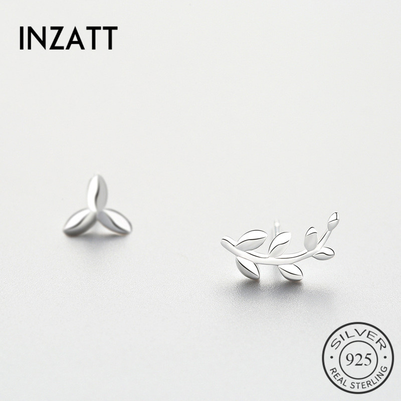 INZATT Asymmetry 100% 925 Sterling Silver Exquisite Leaf Stud Earrings For Women Birthday Party Promotion Charm Fine Jewelry