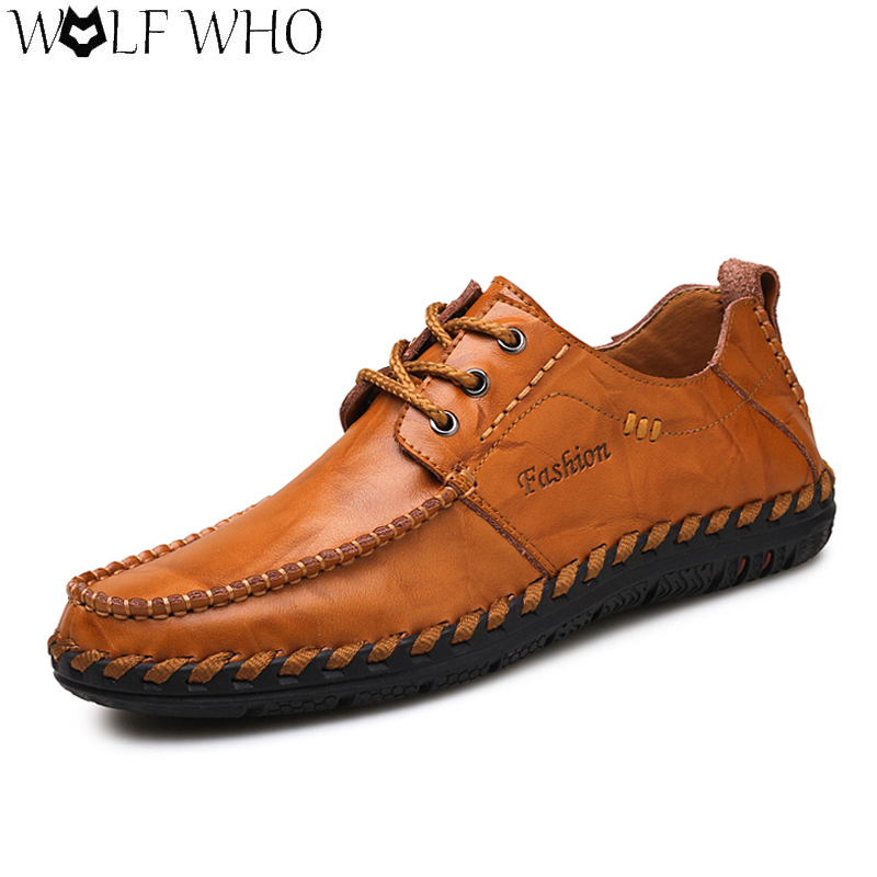 Autumn Men's Causal Shoes Lace-up Brogue Shoes Solid Leather Shoes Flats Men Loafers Slip On Shoes Male Moccasins Zapatos Hombre fooraabo 2017 korean summer causal shoes men loafers flats leather moccasins men driving shoes slip on comfortable male shoes