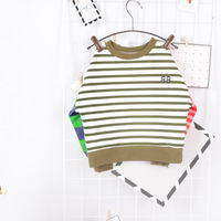 High Quality Boys T Shirts Long Sleeve Children Patchworked Stripe Pattern Baby Boys Girls Unisex Tops